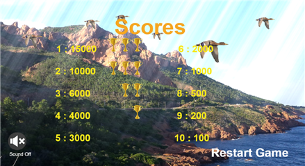 Hunter virtual game screen score level